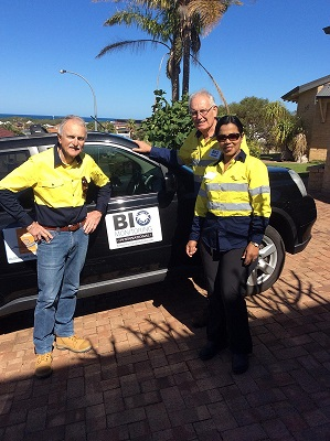 BMI proprietors, Jonathan (centre) and Maze' (right) Majer, assisted by John Sims, prepare for the first field trip.